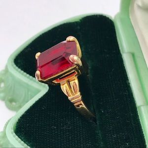 Vintage Red CZ Emerald Cut Solitaire Cocktail Ring